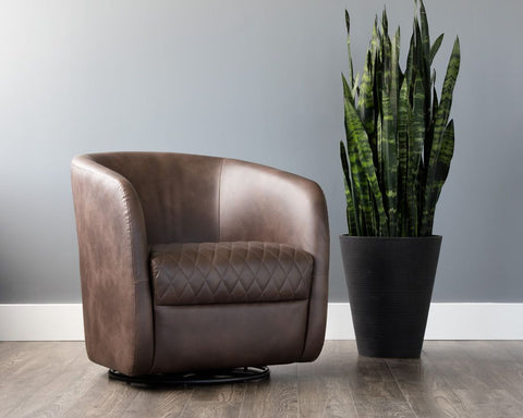 Dax Swivel Club Chair - Coal Black