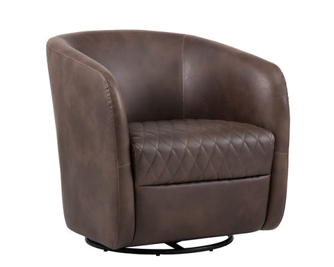 Dax Swivel Club Chair - Havana Dark Brown
