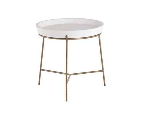 Remy End Table - Ivory w/ Antique Brass Base