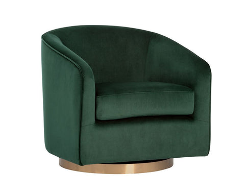 Hazel Swivel Lounge Chair - Deep Green Sky