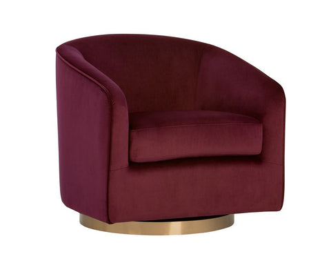 Hazel Swivel Lounge Chair - Burgundy Sky