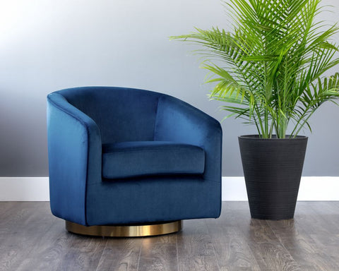 Hazel Swivel Lounge Chair - Navy Blue Sky