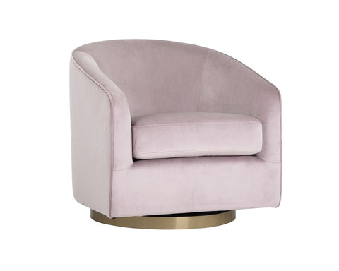 Hazel Swivel Lounge Chair - Blush Sky