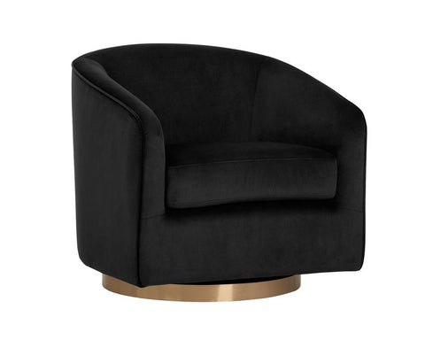 Hazel Swivel Lounge Chair - Black Sky