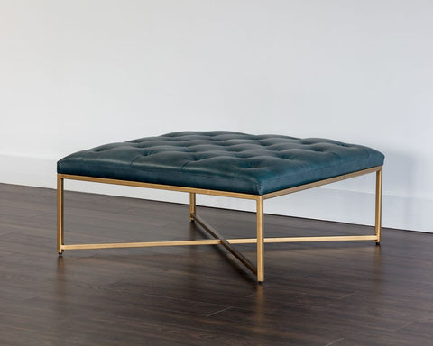 Endall Square Ottoman - Vintage Peacock Leather