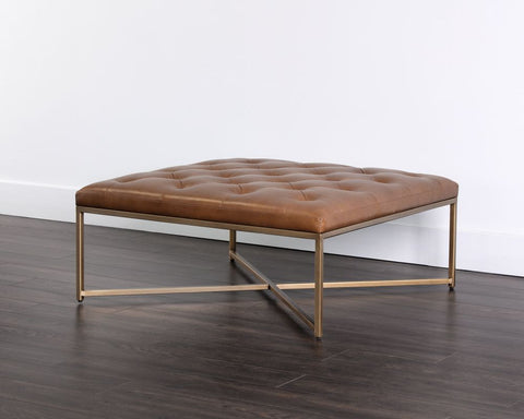 Endall Square Ottoman - Vintage Caramel Leather