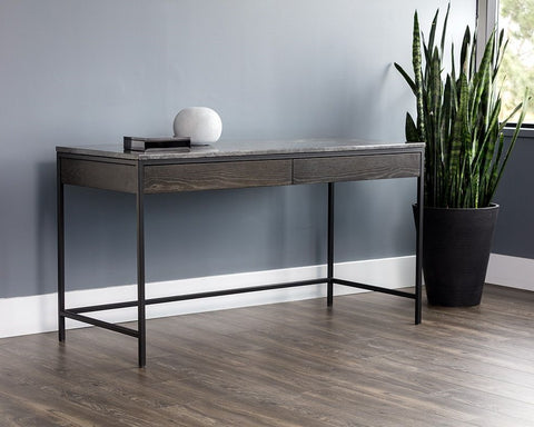 Stamos Desk - Black - Light Grey Marble / Charcoal Grey