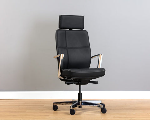 Dennison Office Chair - Black Leather