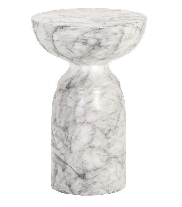 Goya Marble Look End Table - White