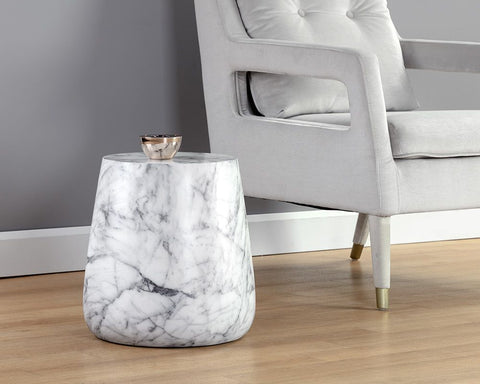 Aries Side Table Marble Look - White