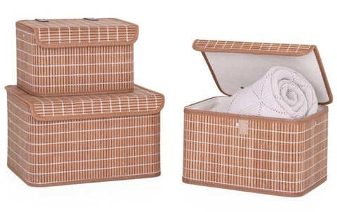 Kumi Bamboo 3 Piece Nested Storage Basket with Lid Set