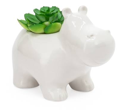 Animal Garden Ceramic Hippo Potted Faux Succulent