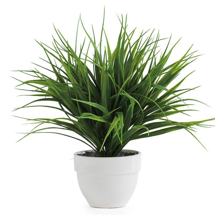 Grass Potted Faux Plant - Dark Green