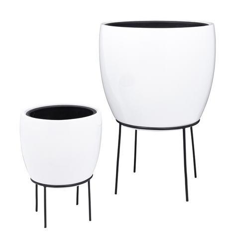Aria 2 Piece Tapered Cone Standing Planters with Liners Set