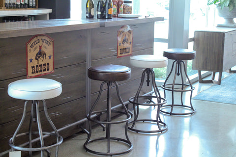 Bowie Bar Stool - Peacock Blue Leather