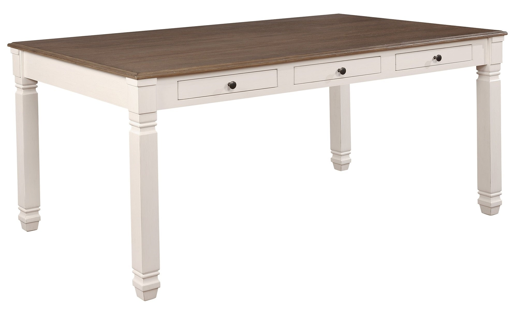 Highlands Rectangular Dining Table in Antique White/Oak