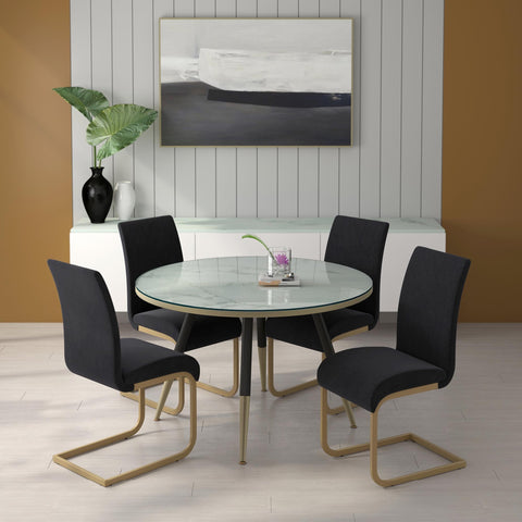 Cordelia Round Glass Top Dining Table - White
