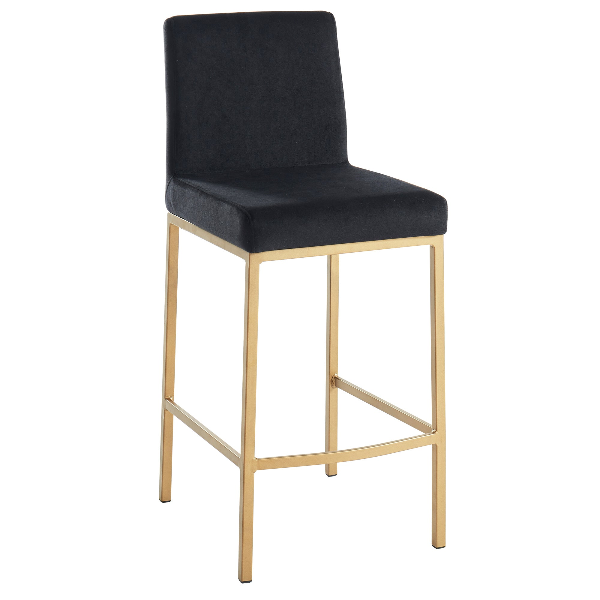 Diego Counter Stool - Black/Gold Legs