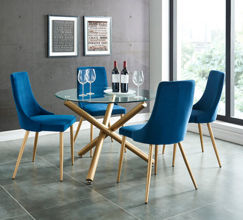 Carmilla 5pc Dining Set, Gold/Blue