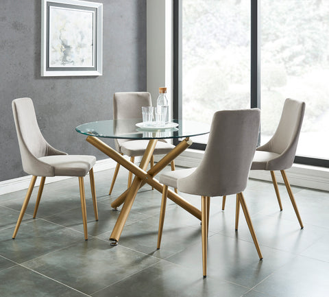 Carmilla 5pc Dining Set, Gold/Grey
