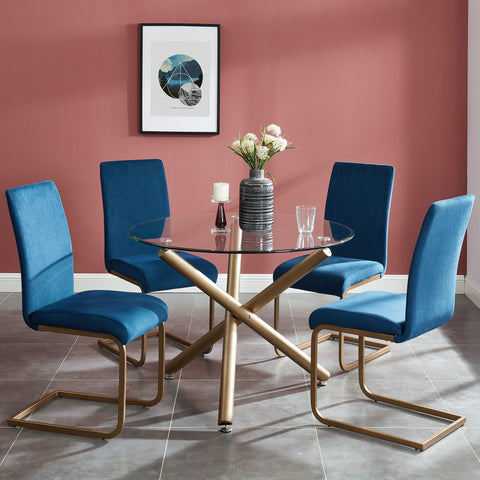 Carmilla/Savion 5pc Dining Set, Gold/Blue