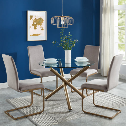 Carmilla/Savion 5pc Dining Set, Gold/Grey