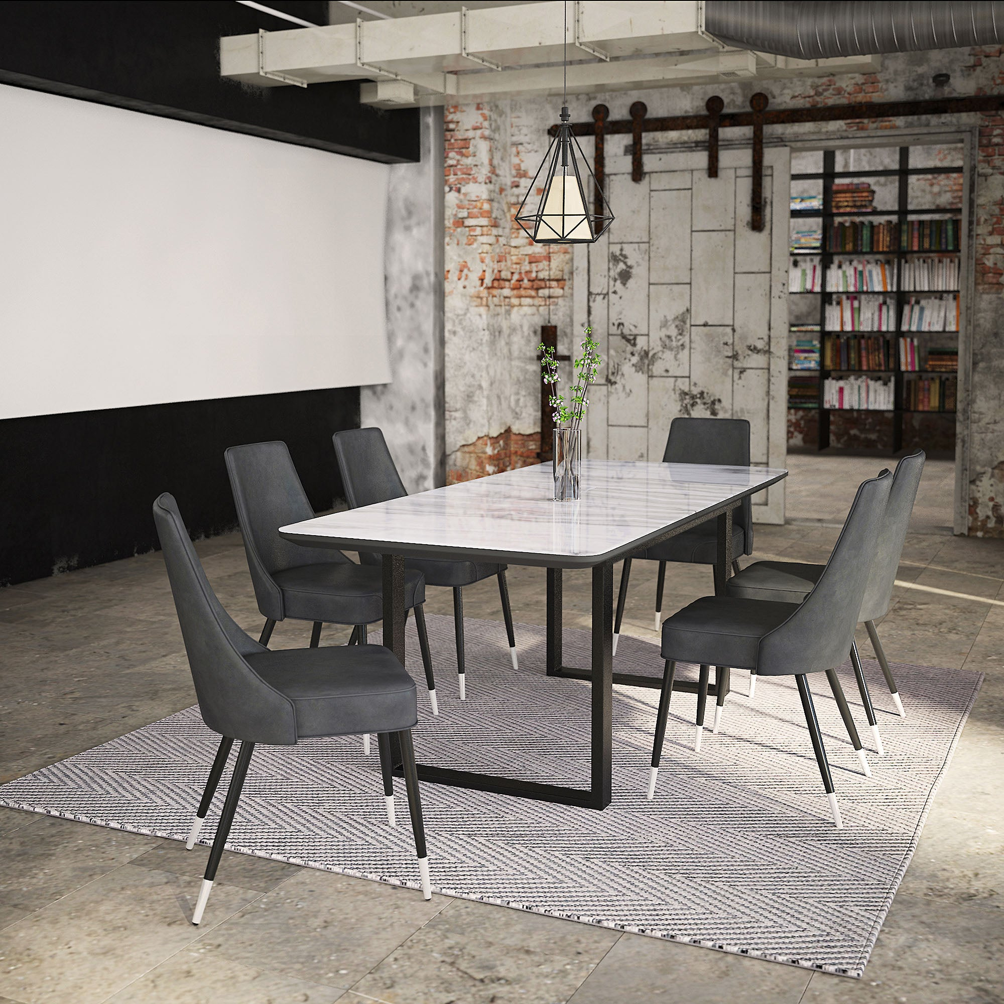 Gavin/Silvano 7pc Dining Set, Black/Vintage Grey