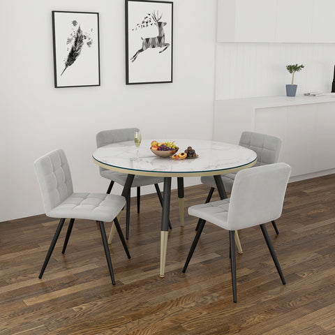 Cordelia/Suzette 5pc Dining Set, White/Grey