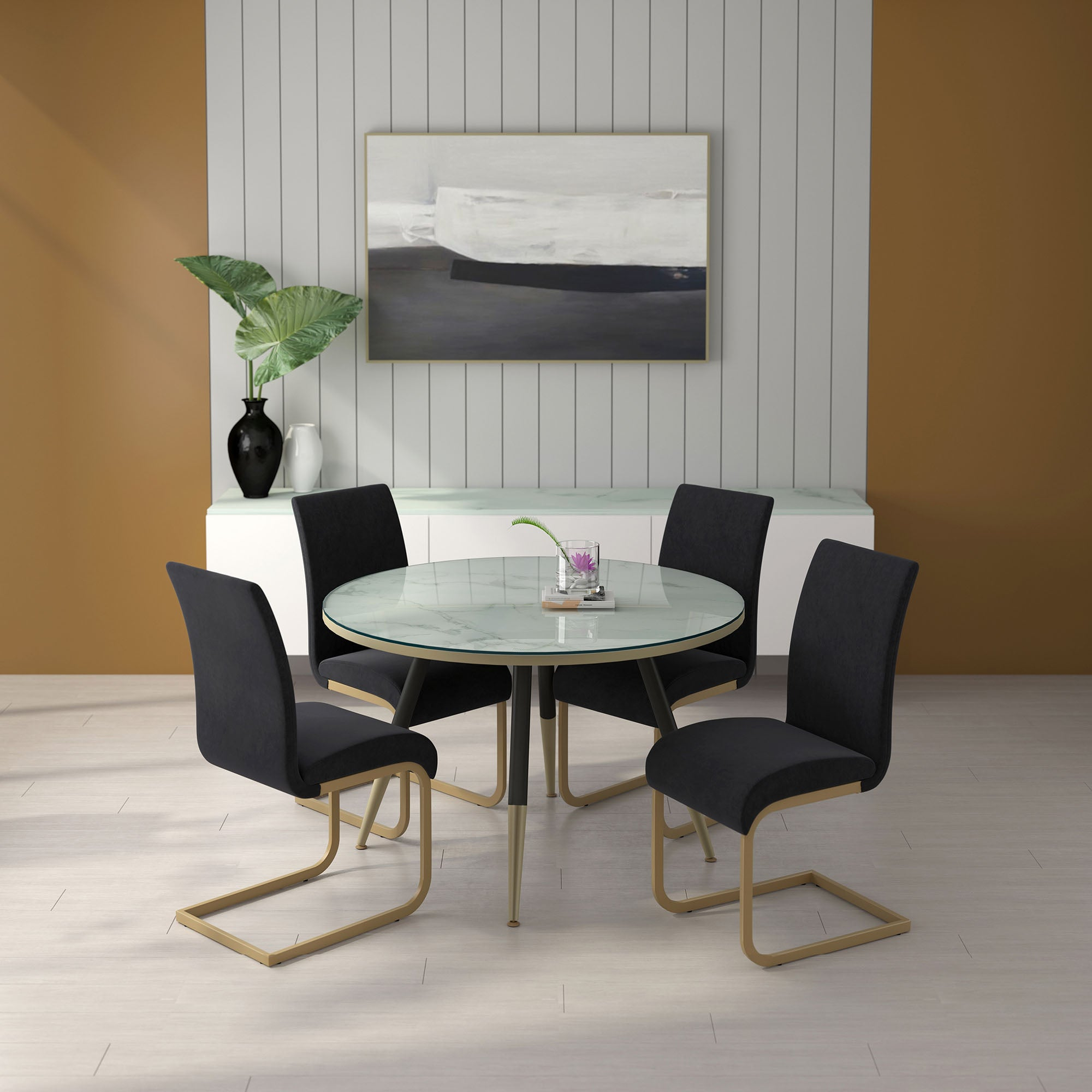 Cordelia/Savion 5pc Dining Set, White/Black
