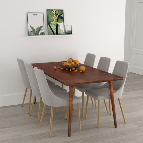 Arnav/Carmilla 7pc Dining Set, Walnut/Grey