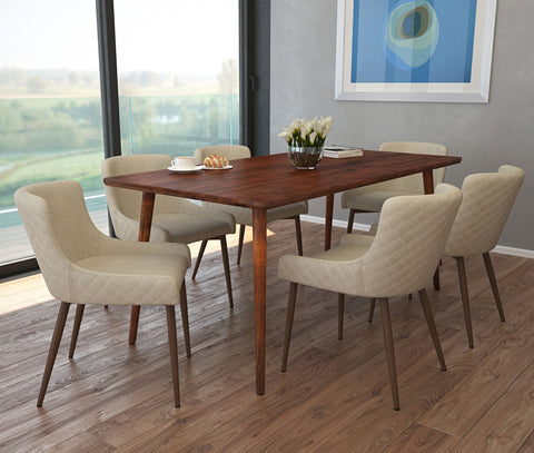 Arnav/Bianca 7pc Dining Set, Walnut/Walnut & Beige
