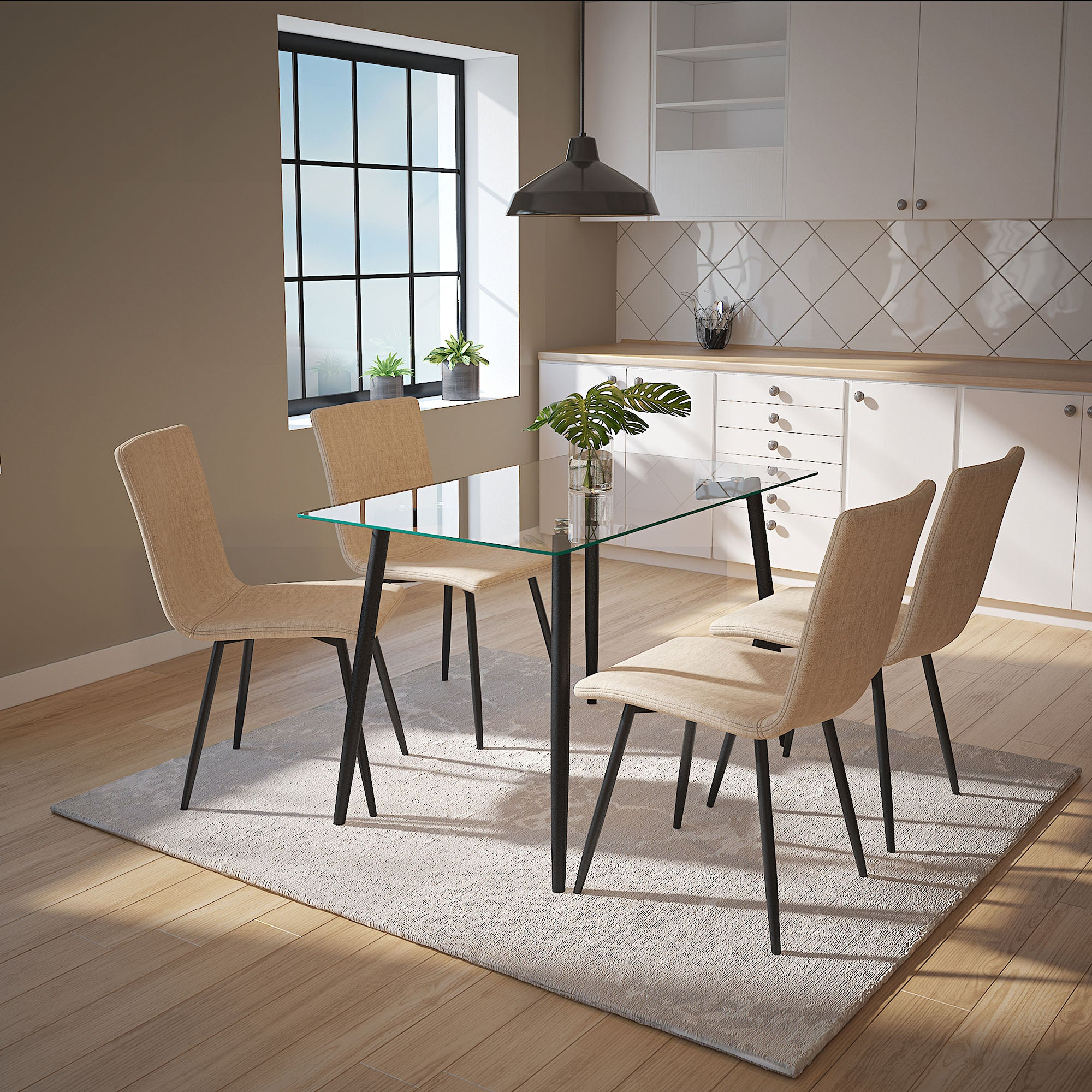 Todd/Nora 5pc Dining Set, Black/Beige