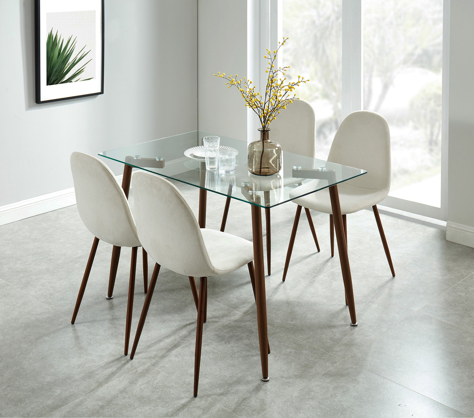 Todd/Lyna 5pc Dining Set, Walnut/Beige