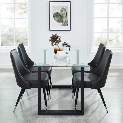 Andy/Silvano 5pc Dining Set, Black/Vintage Grey