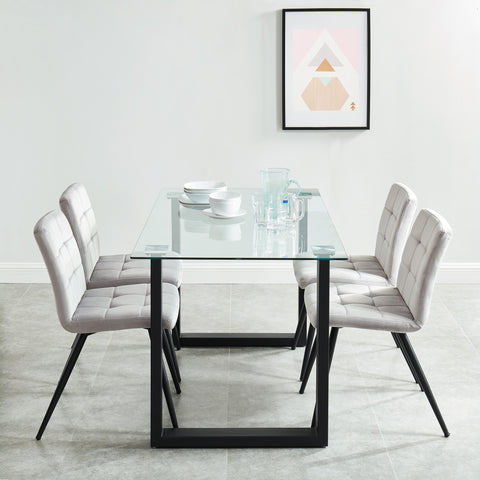 Andy/Suzette 5pc Dining Set, Black/Grey
