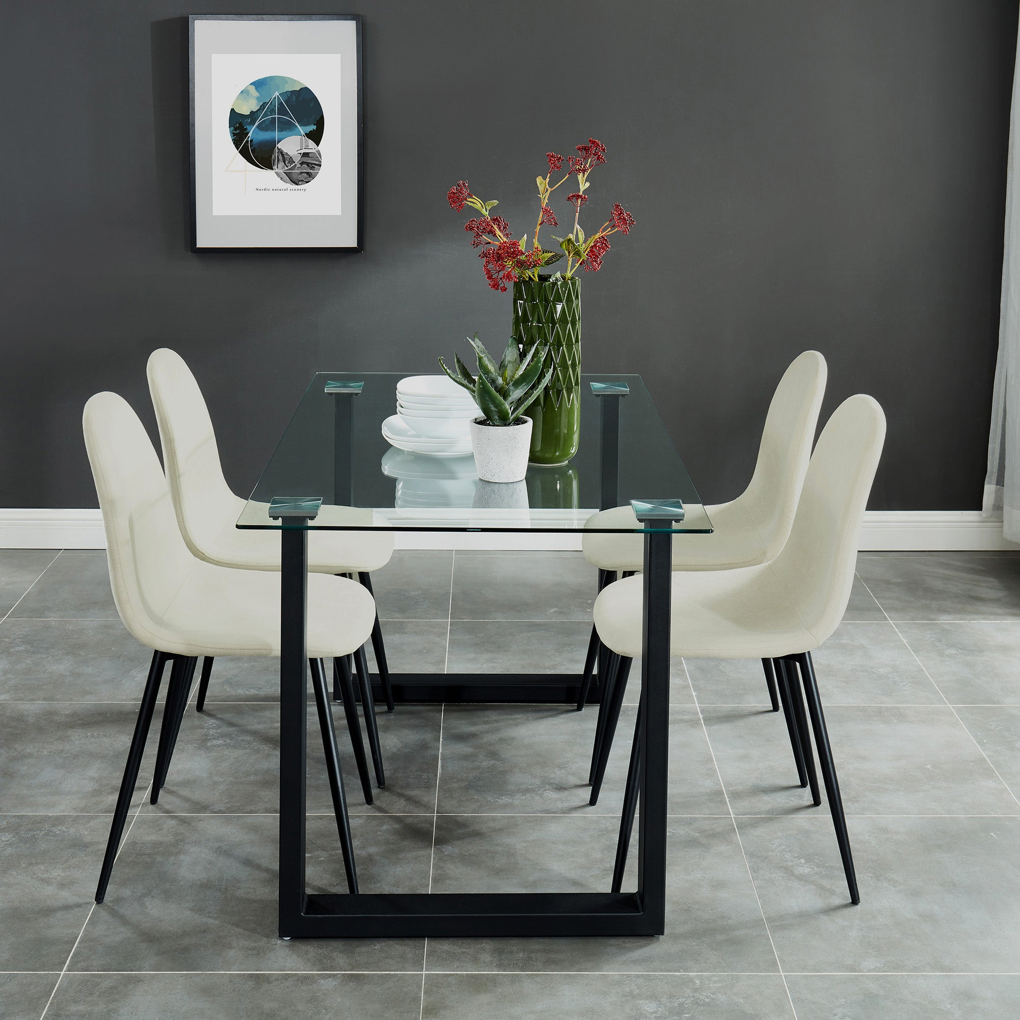 Andy/Olly 5pc Dining Set, Black/Beige