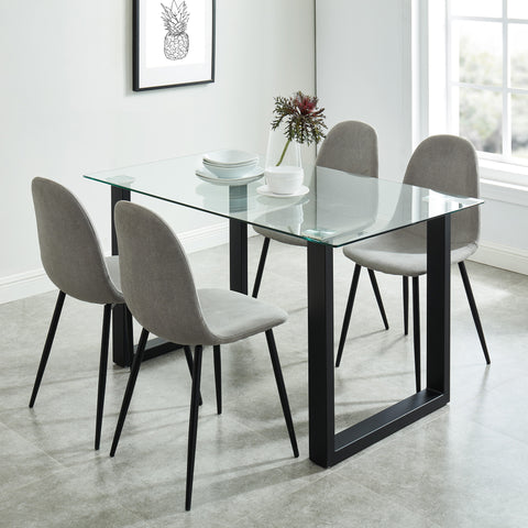 Andy/Olive 5pc Dining Set, Black/Grey