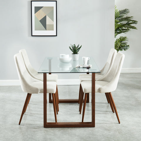 Andy/Cora 5pc Dining Set, Walnut/Beige