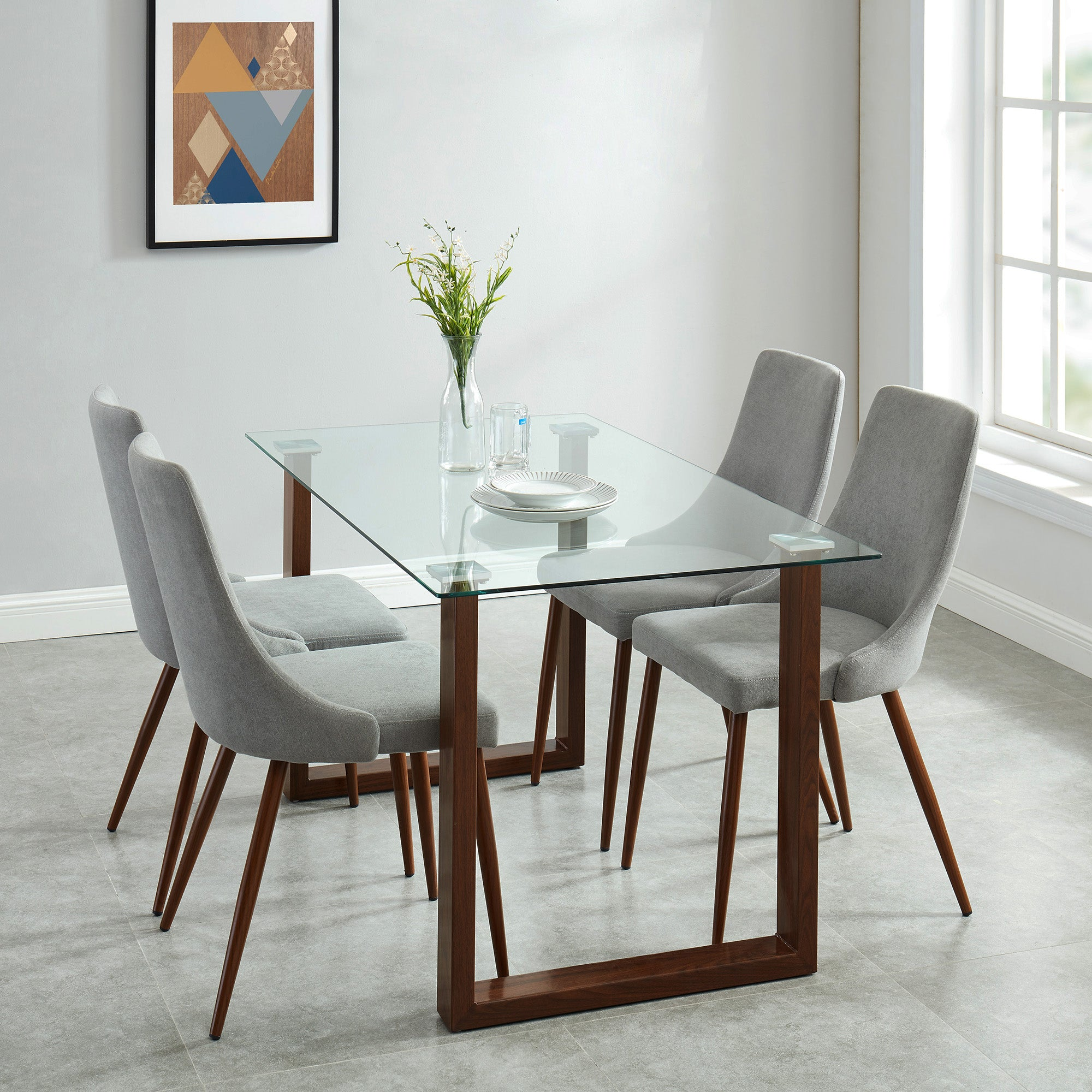 Andy/Cora 5pc Dining Set, Walnut/Grey