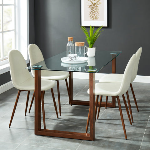 Andy/Lynda 5pc Dining Set, Walnut/Beige
