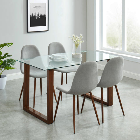 Andy/Lynda 5pc Dining Set, Walnut/Grey
