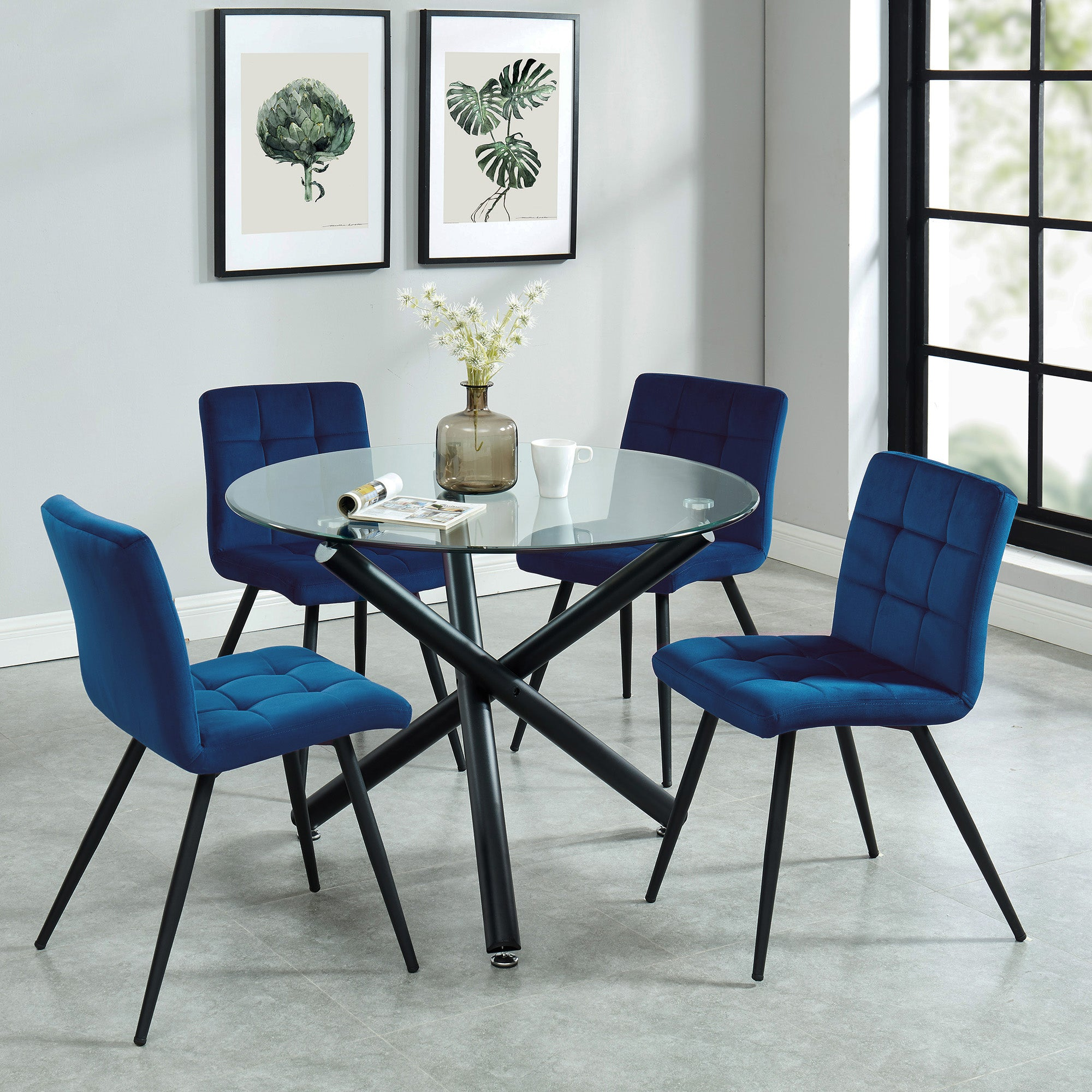 Suzette 5pc Dining Set, Black/Blue