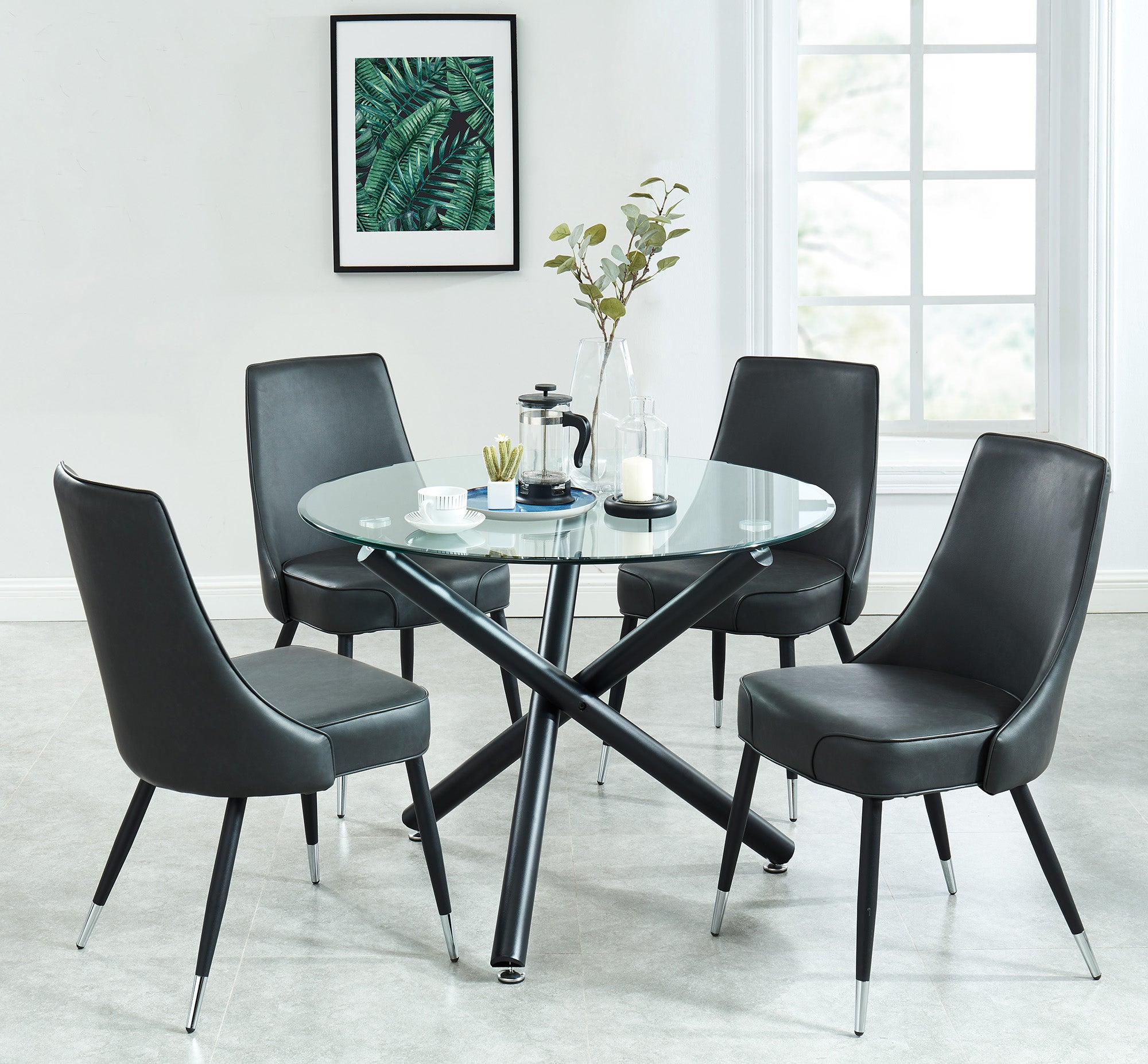 Suzette/Silvano 5pc Dining Set, Black/Vintage Grey