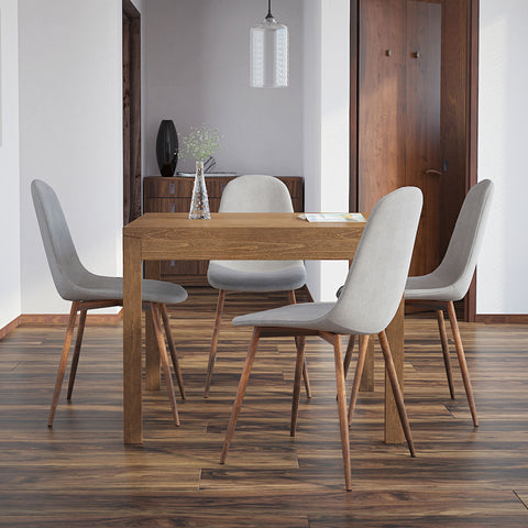 Benito/Lynda 5pc Dining Set, Walnut/Grey