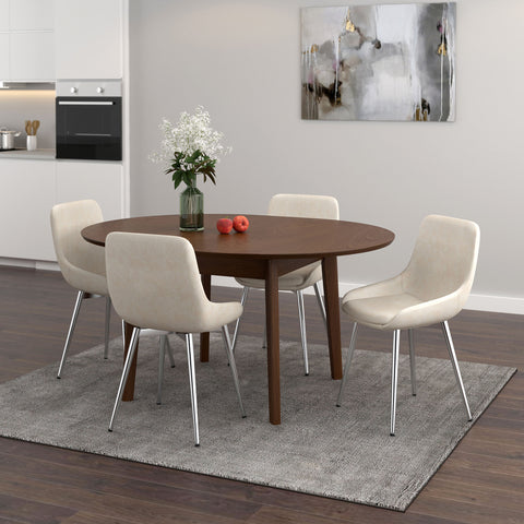 Alero/Cassidy 5pc Dining Set, Walnut/Ivory