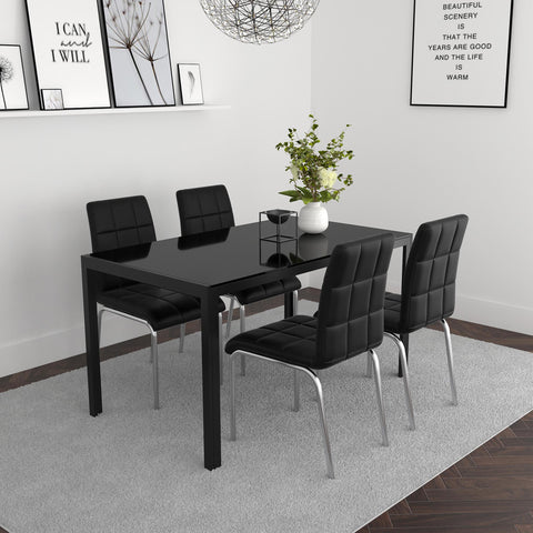 Contra/Solara 5pc Dining Set, Black/Black