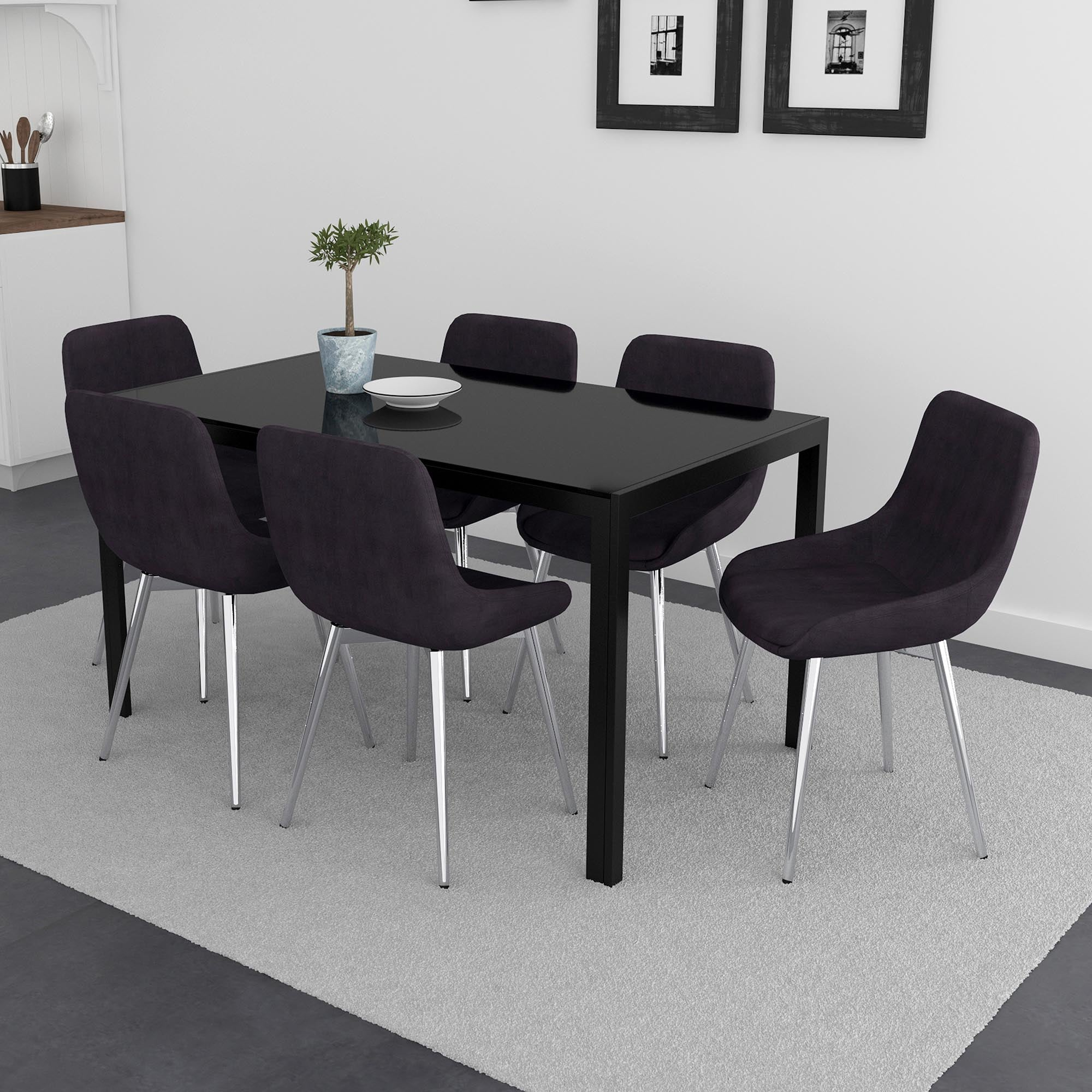 Contra/Cassidy 7pc Dining Set, Black/Black
