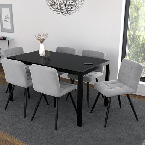 Contra/Suzette 7pc Dining Set, Black/Grey