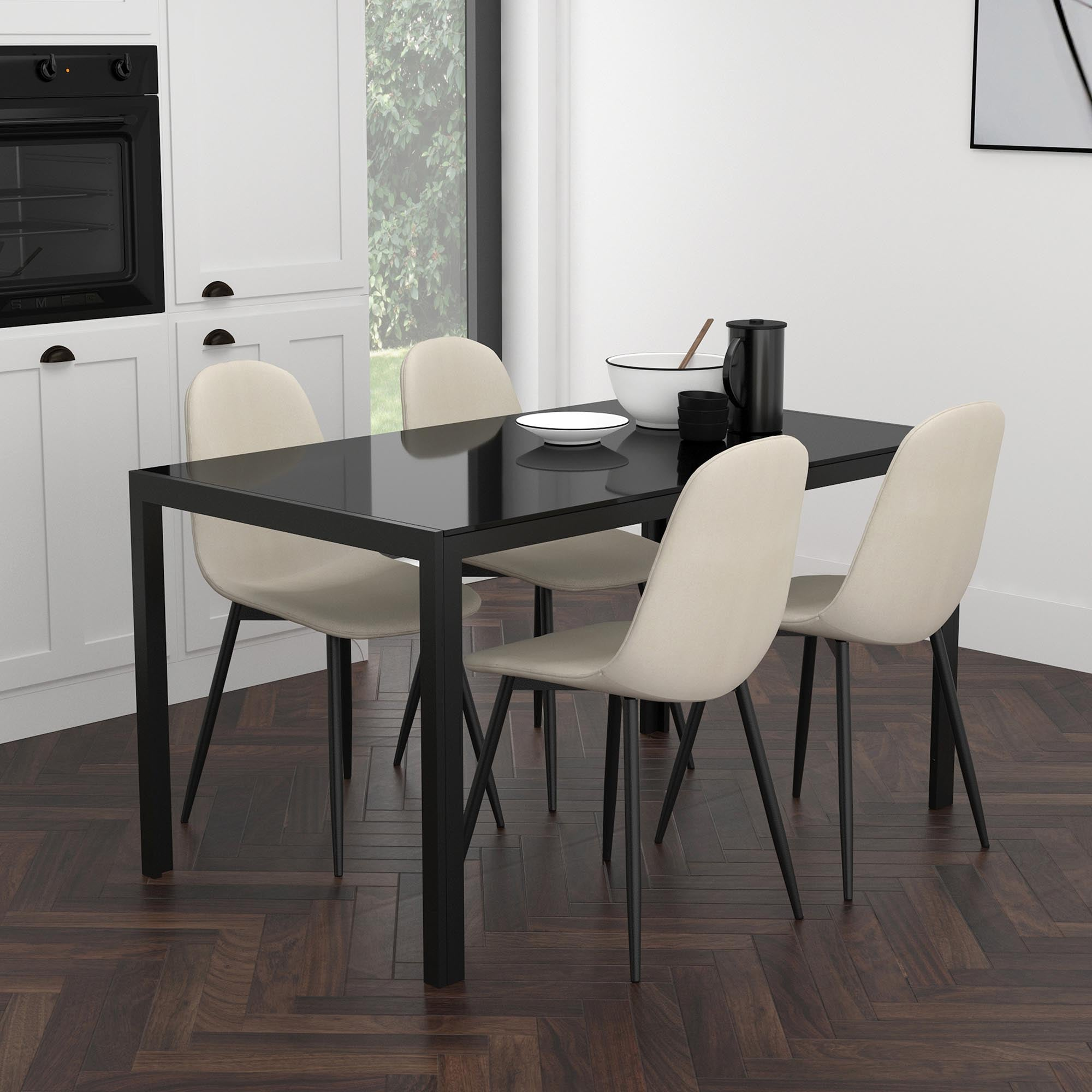 Contra/Olly 5pc Dining Set, Black/Beige