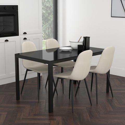 Contra/Olive 5pc Dining Set, Black/Beige